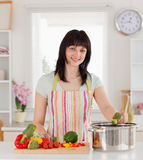 Beautiful brunette woman cooking vegetables Stock Image