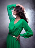Beautiful brunette woman with curly long hair in green dress. Studio portrait of young beautiful brunette woman with brown curly long hair in green dress  on Stock Photography