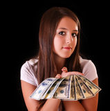 Beautiful brunette woman with dollars Royalty Free Stock Photo