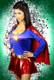 Beautiful brunette woman dressed as a super hero Stock Images
