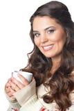 Beautiful brunette woman drinking coffee Stock Photos