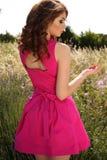 Beautiful brunette woman in elegant dress posing in lavender field Stock Photography