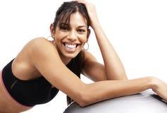 Beautiful brunette woman exercising Stock Photos