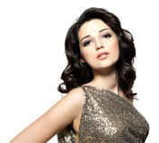 Beautiful brunette woman with fashion hairstyle Royalty Free Stock Photography