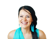 Beautiful brunette woman feather earrings Royalty Free Stock Photos