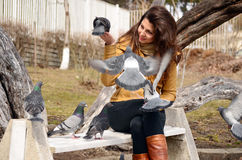 Beautiful brunette woman  feeding pigeons Royalty Free Stock Images