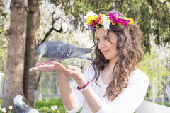 Beautiful brunette woman  feeding pigeons Stock Photos
