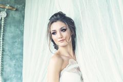 Beautiful Brunette Woman Fiancee with Wedding Hairstyle. And Makeup stock images