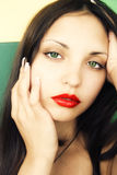 Beautiful brunette woman with green eyes Royalty Free Stock Image