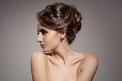 Beautiful Brunette Woman. Hairstyle. Royalty Free Stock Images