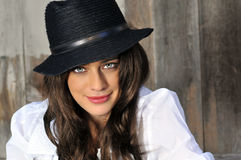 Beautiful Brunette Woman with Hat Royalty Free Stock Photos