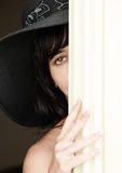 Beautiful brunette woman in hat Royalty Free Stock Image