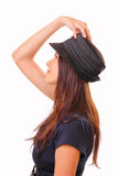 Beautiful brunette woman in a hat Stock Photos