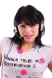 Beautiful brunette woman with  headphone Royalty Free Stock Photo
