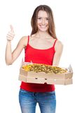 Beautiful brunette woman holding box with pizza Stock Photos