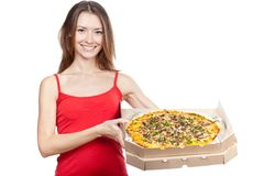 Beautiful brunette woman holding box with pizza Stock Photography