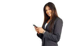 Beautiful brunette woman holding a cellphone Stock Photo
