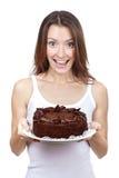 Beautiful brunette woman holding chocolate cake Stock Photo