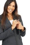 Beautiful brunette woman holding a daybook Stock Photo