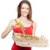 Beautiful brunette woman holding piece of pizza Royalty Free Stock Photography