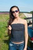 Beautiful brunette woman ib sunglasses Stock Images
