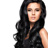 Beautiful brunette woman with long black  hair Royalty Free Stock Photo
