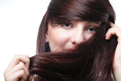 Beautiful brunette woman long hair Stock Photography
