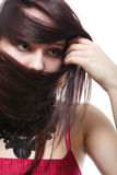 Beautiful brunette woman long hair Royalty Free Stock Photo