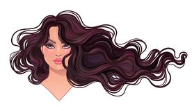 Beautiful brunette woman with long wavy hair flowing in the wind. Hair salon concept. vector illustration isolated. Portrait of a young Caucasian woman Royalty Free Stock Images