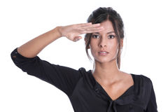 Beautiful brunette woman looking at with hand gesture isolated o Stock Photo