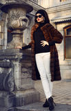 Beautiful brunette woman in luxurious fur coat and sunglasses Royalty Free Stock Photos