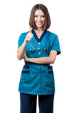 Beautiful brunette woman medical worker Royalty Free Stock Photo