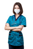 Beautiful brunette woman medical worker Royalty Free Stock Photography