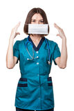 Beautiful brunette woman medical worker Stock Photos
