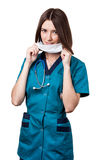 Beautiful brunette woman medical worker Royalty Free Stock Photos