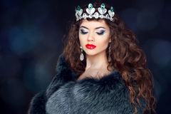 Beautiful brunette woman in mink fur coat. Jewelry. Fashion Beau Stock Photography