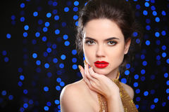 Beautiful brunette woman model with red lips, in elegant style. Royalty Free Stock Photo