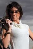 Beautiful brunette woman night portrait. Outdoor Stock Image