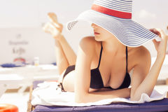 Free Beautiful Brunette Woman On The Beach In Pool Alone Relaxing In Stock Photography - 47950392