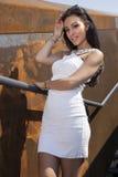 Beautiful brunette woman on outdoor Stock Image