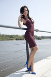 Beautiful brunette woman on outdoor Royalty Free Stock Images