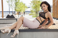 Beautiful brunette woman on outdoor Stock Images