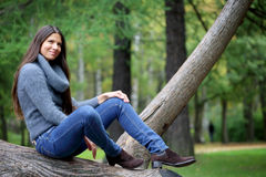 Beautiful brunette woman outdoors Royalty Free Stock Photography