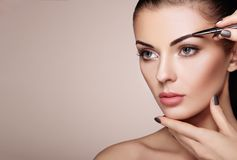 Beautiful brunette woman paints the eyebrows Stock Photos