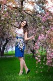 Beautiful brunette woman in the park on a warm summer day Stock Photography
