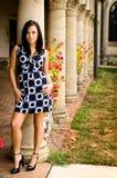 Beautiful brunette woman and pillars Royalty Free Stock Photos