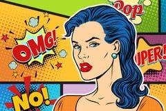 Beautiful brunette woman pop art background Royalty Free Stock Image