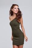 Beautiful brunette woman portrait in autumn color. stock image