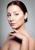Beautiful brunette woman. Portrait. Clear fresh sskin. Skincare. Spa. Beauty model Royalty Free Stock Images