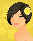 Beautiful Brunette Woman. Portrait Illustration Royalty Free Stock Image